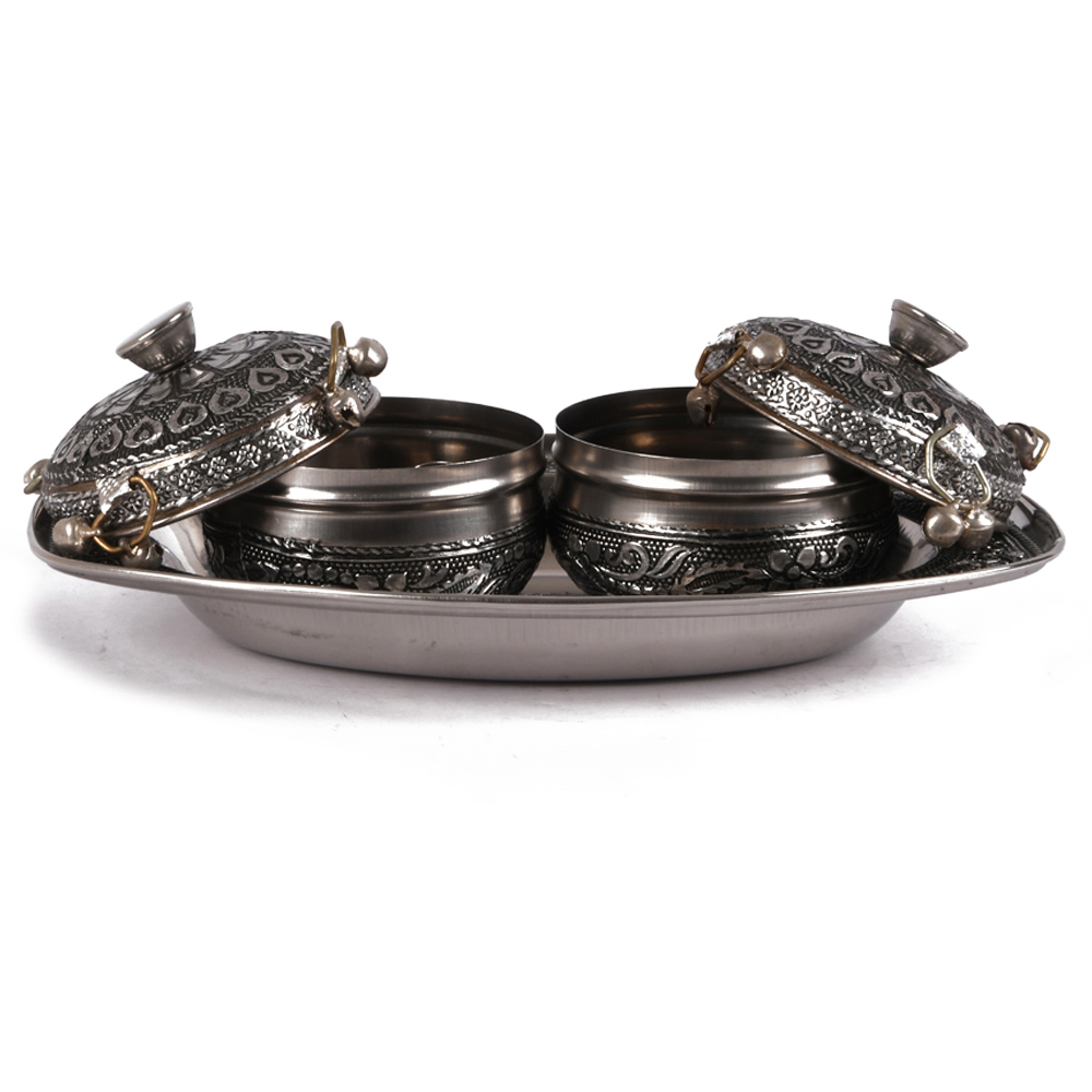 A set of two oxidised metal dabbis - set of two oxidised metal dabbis with tray
