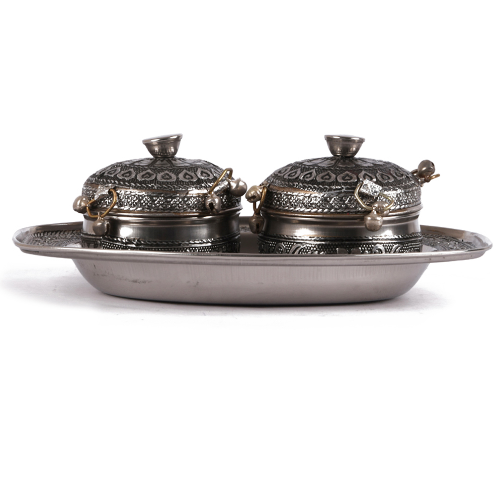 A set of two oxidised metal dabbis - set of two oxidised metal dabbis with tray for return gifts