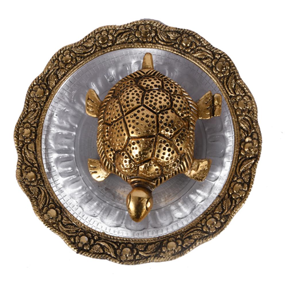 Oxidised Metal & Glass Made golden tortoise for Vaastu & Feng Shui - Oxidised Metal & Glass Made golden tortoise for return gift
