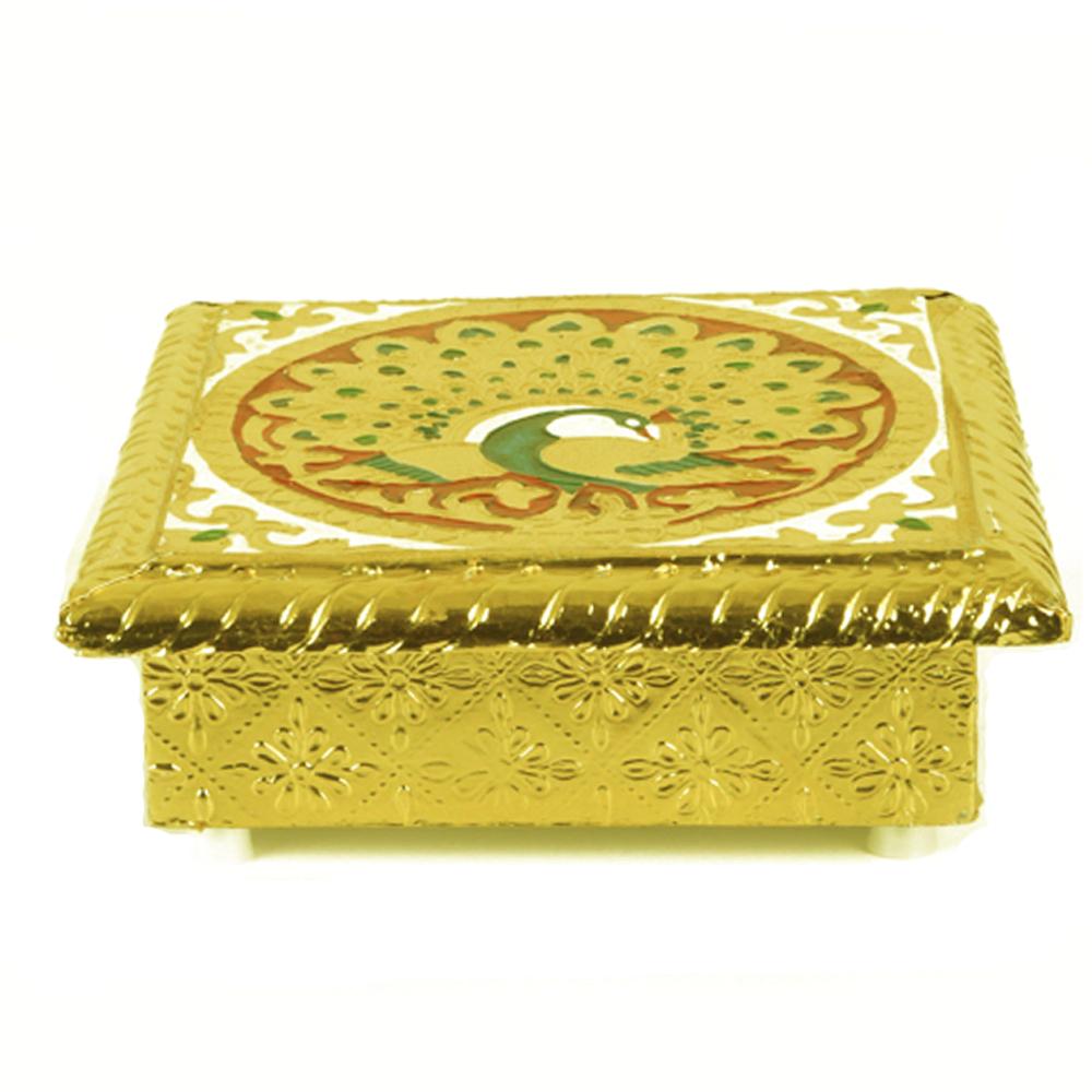 Golden colour Wooden Meenakari Chowki for Happy Sitting - Wooden Meenakari Chowki for return gifts