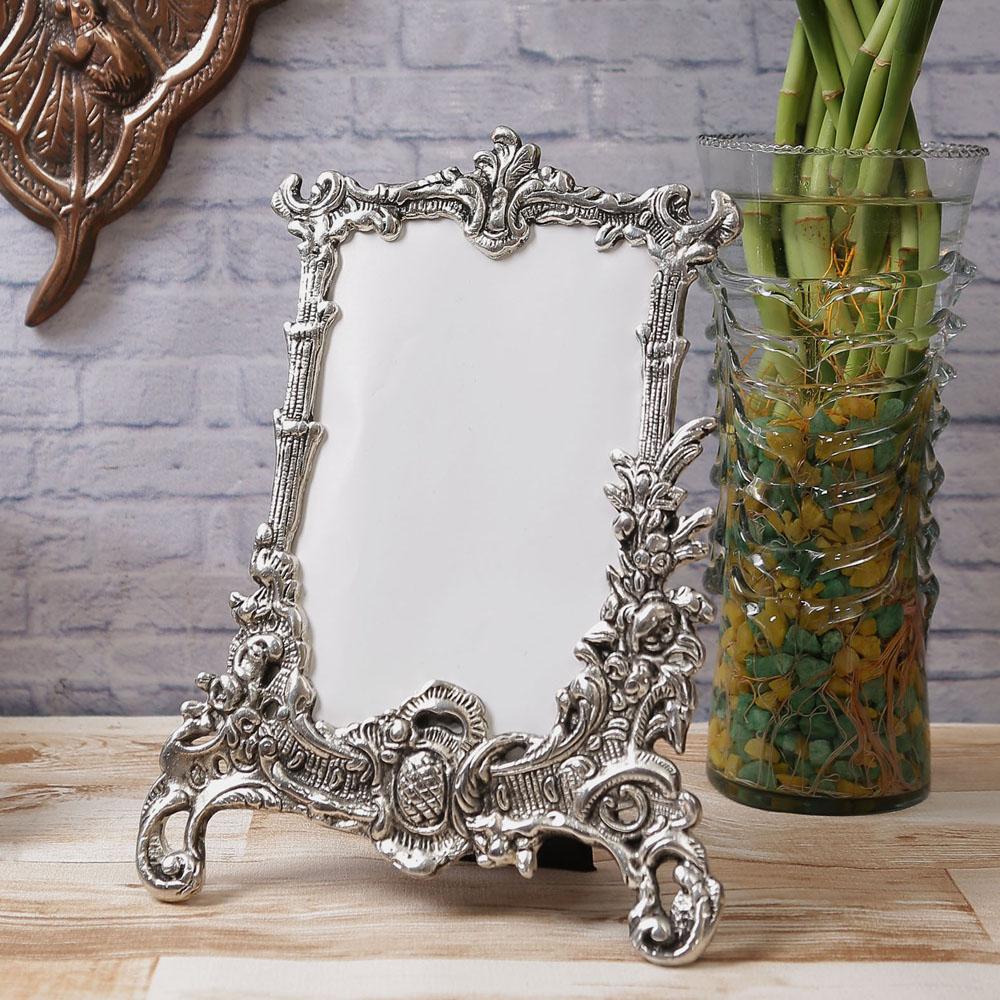 Antique Finish White Metal Rectangular Photo Frame To Decorate Your Homes - White Metal Rectangular Photo Frame