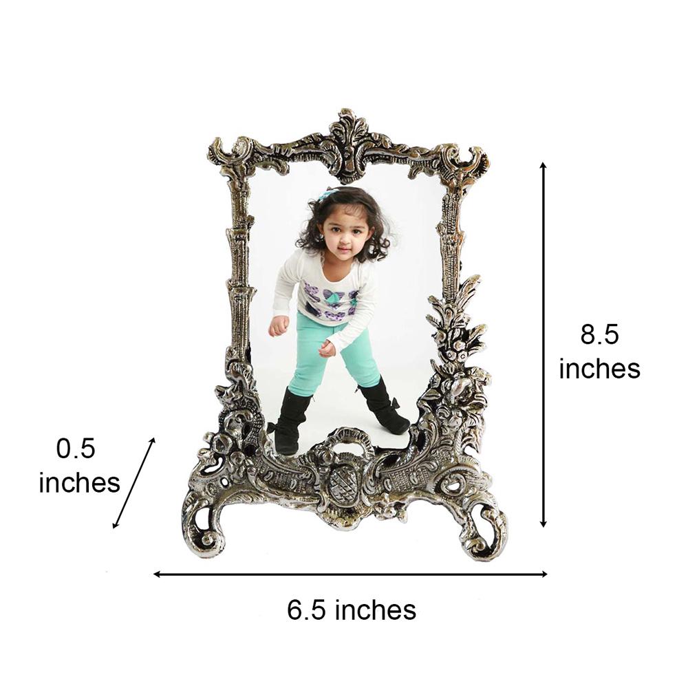 Antique Finish White Metal Rectangular Photo Frame To Decorate Your Homes - Antique metal rectangular photo frame