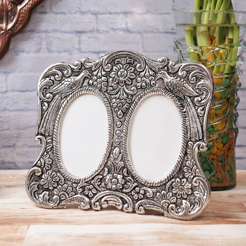 Antique Finish White Metal Round Photo Frame For 2 Photos Of You And Your Beloved - White Metal Round Photo Frame