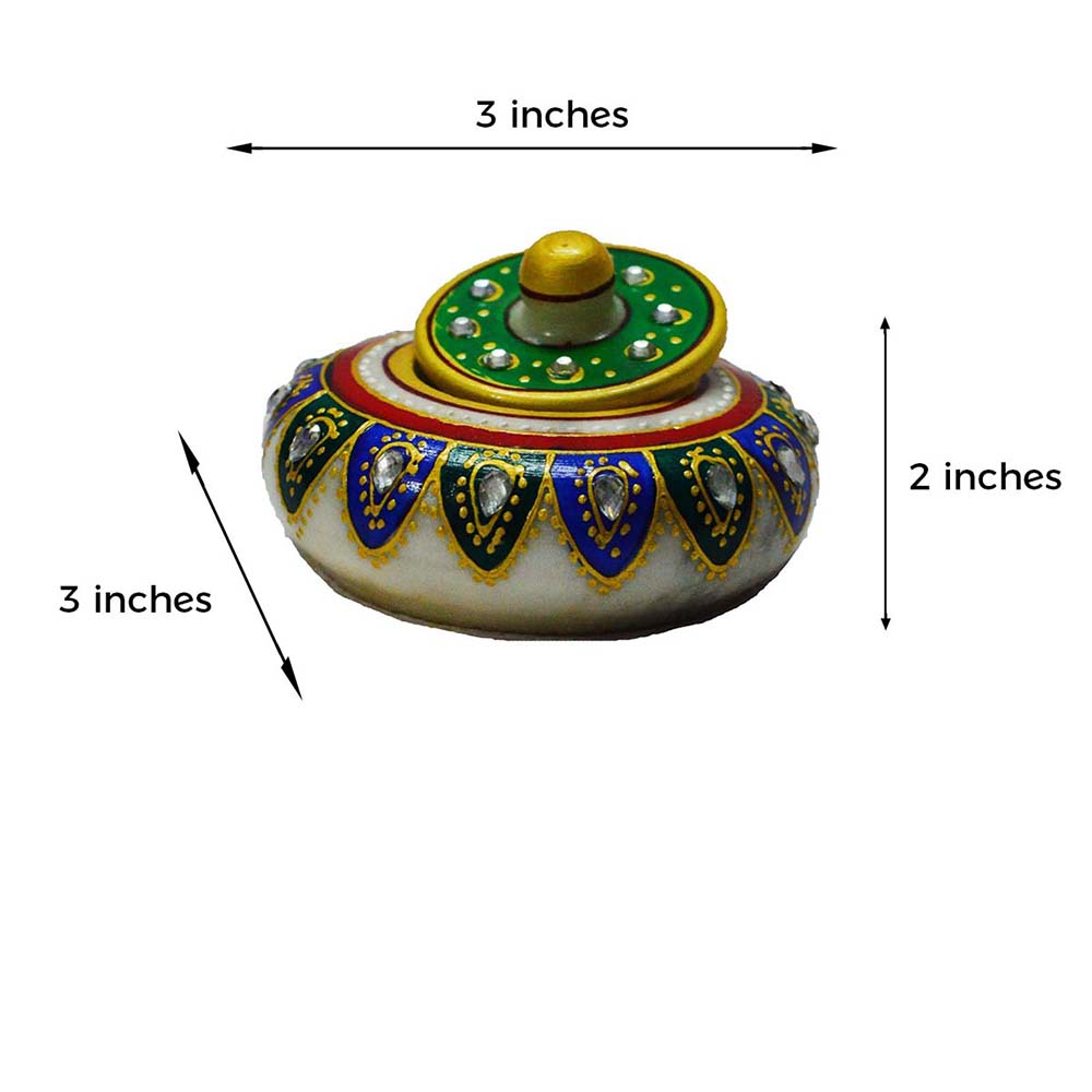 Marble Green And Blue Sindoor Holder- Handcrafted With Care - Marble green and blue sindoor holder