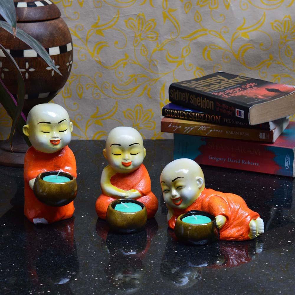 Set Of 3 Monks Candle Holder - Orange From Rajasthan - Monks candle holder