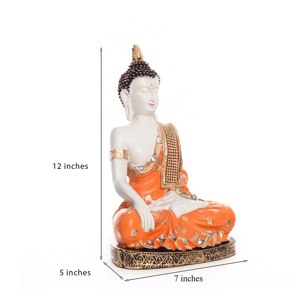 Fiber Meditating Buddha - Orange For Your Pious Home - Fiber meditationg buddha