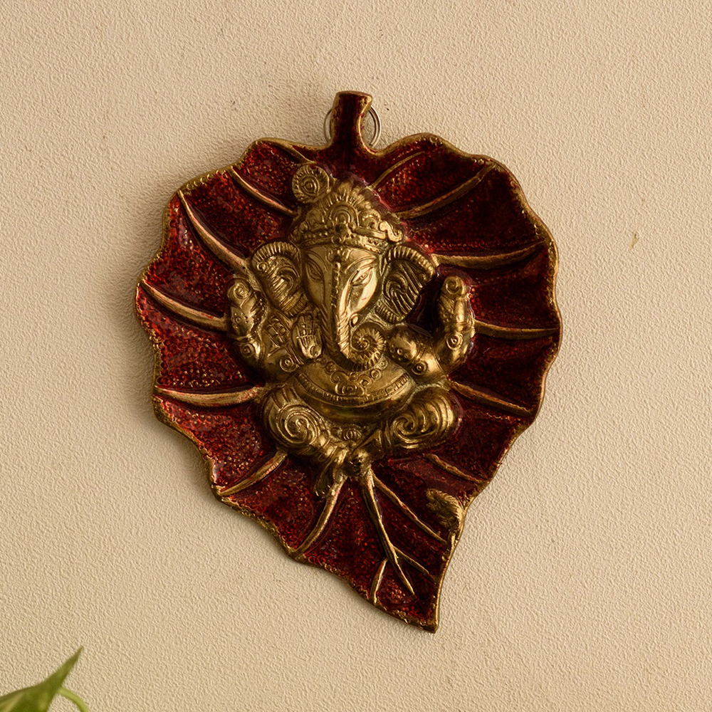 Decorate Your Home With Lord Ganesha On Red Leaf - Lord Ganesha On Red Leaf