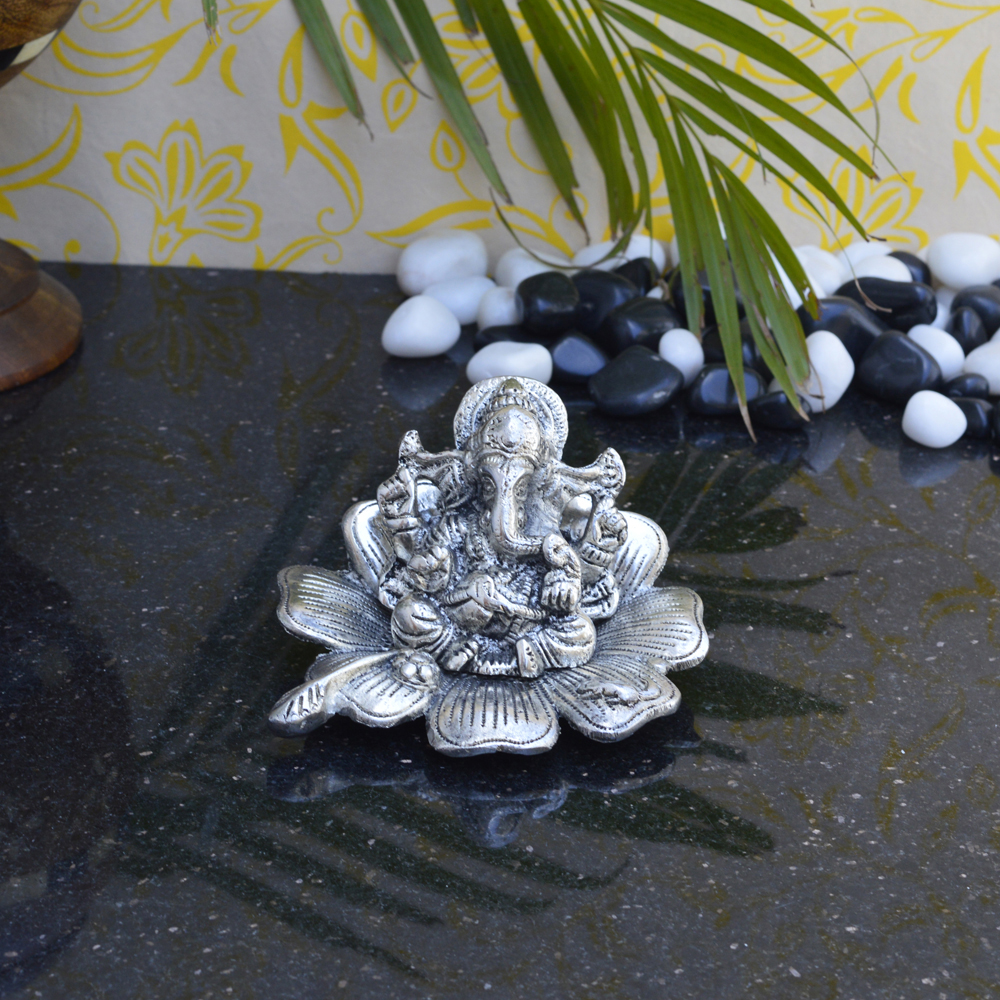Bring Peace To Your Home With The Lord Ganesha Statue On Flower - Lord ganesha statue on flower