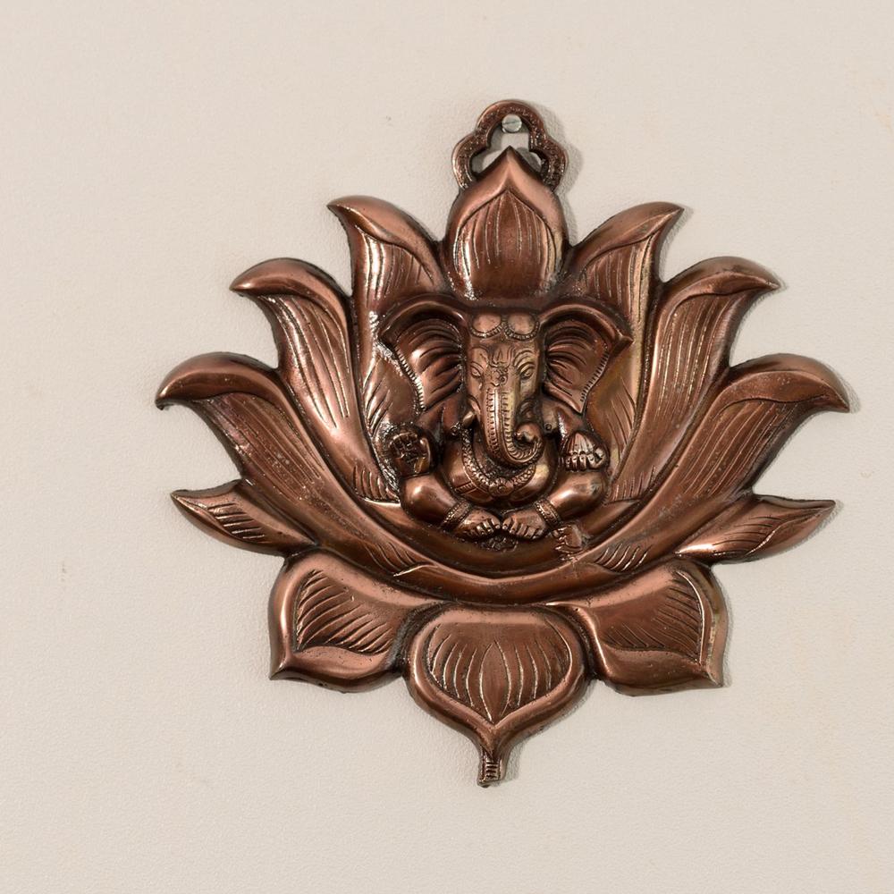 Metal Wall Hanging Of Lord Ganesha On Lotus For Your Beautiful Home - Metal wall hanging of lord ganesha on lotus