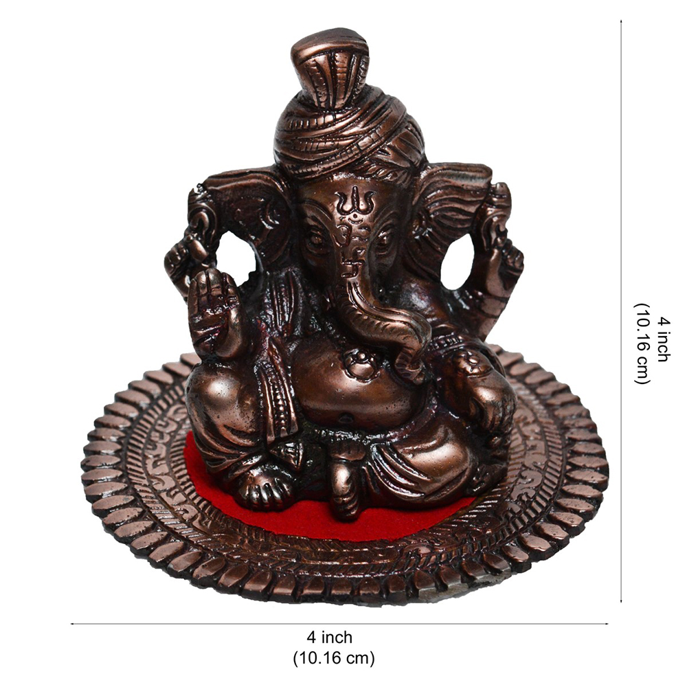 Illuminate Your Home With Metal Pagdi Lord Ganesha On Round Base - Brown - Ganesha on round base