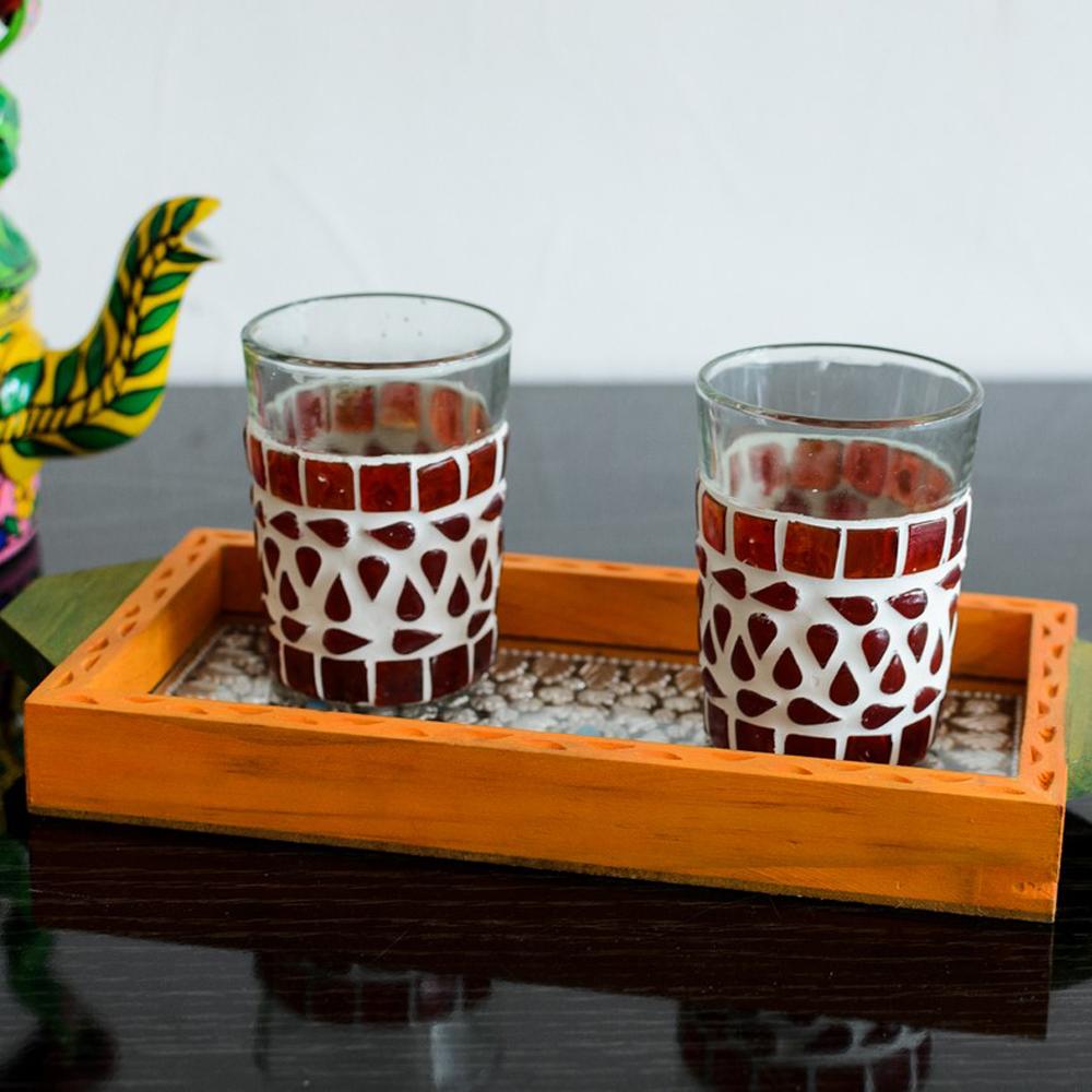Jewelled orange utility tray - Jeweled orange wooden utility tray
