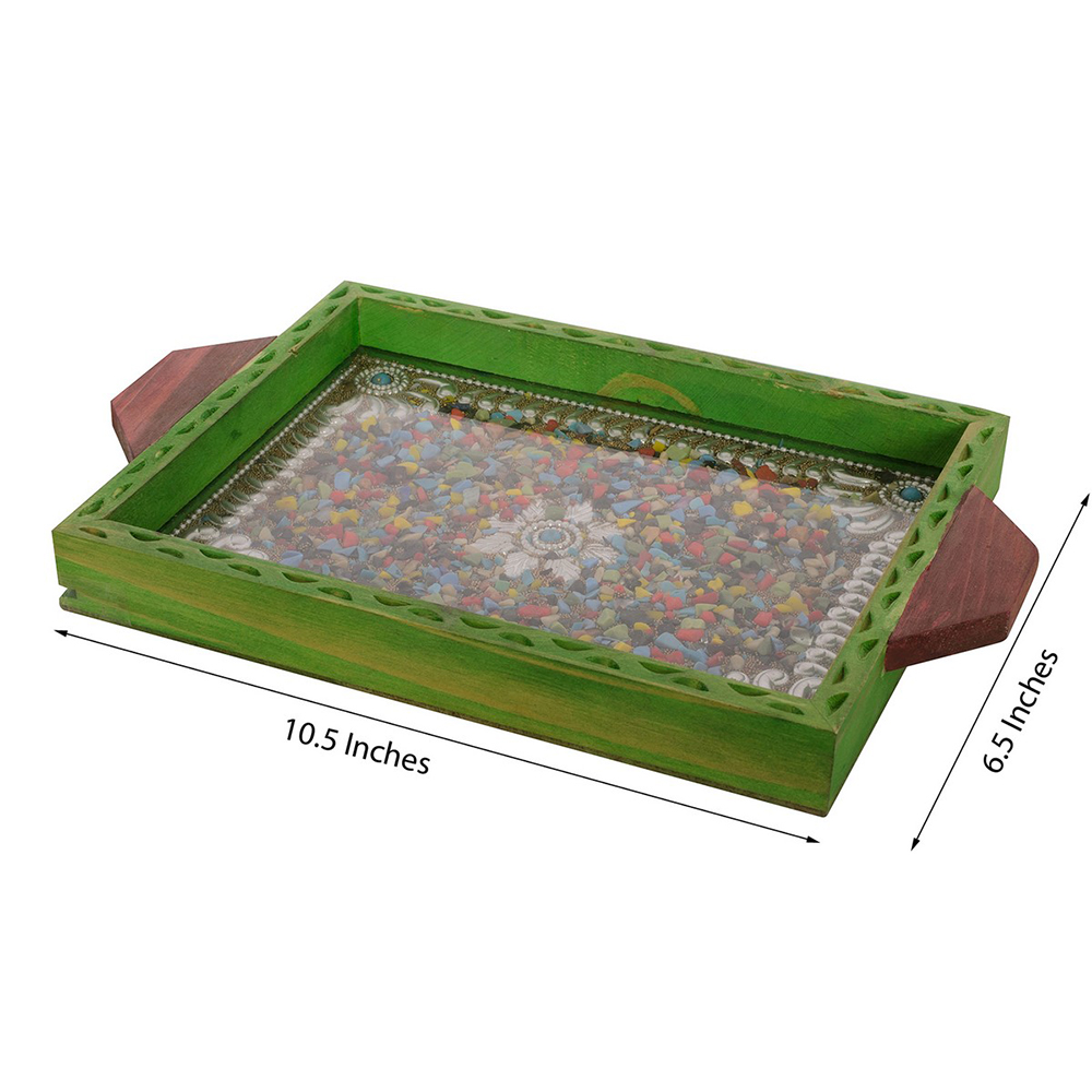 The Exceptional Multipurpose Jeweled Green Wooden Utility Tray - Jeweled wooden utility tray