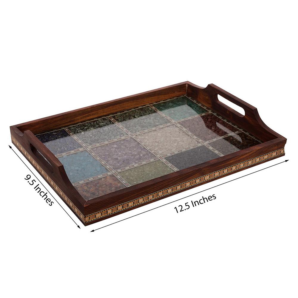 Multipurpose Gemstone Filled Brown Wooden Utility Tray - Multipurpose wooden utility tray