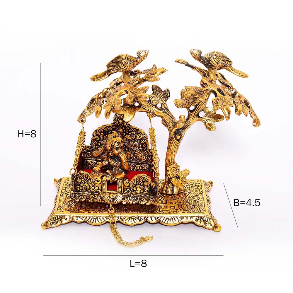 Showpiece of lord Kanha on jhula made from premium Oxidized metal -