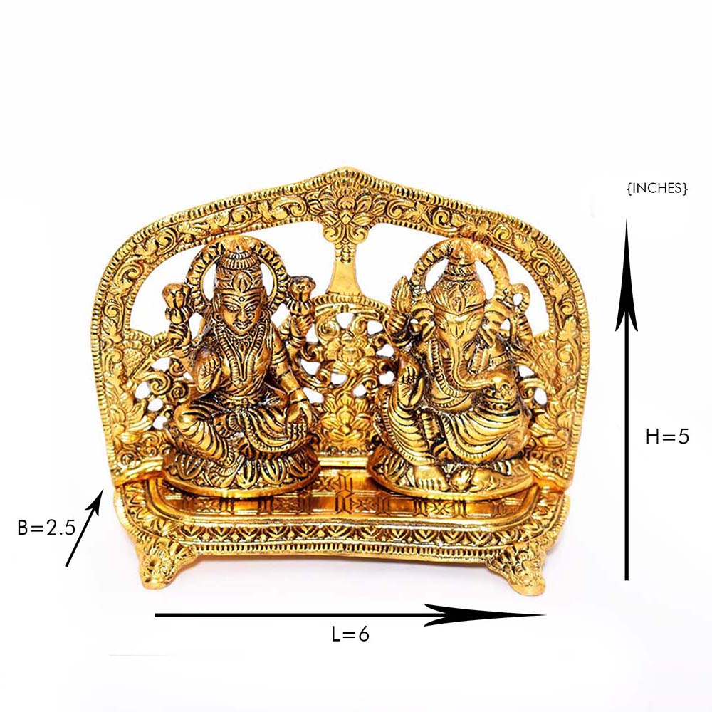 Oxidized metal showpiece of goddess laxmi and lord ganesh on shinhasan - goddess laxmi and lord ganesh on shinhasan