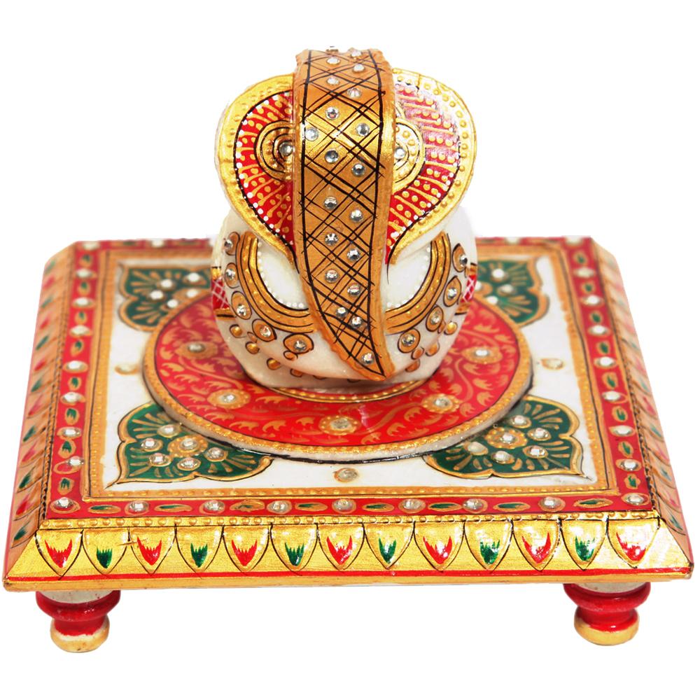 Marble Lord Ganesha In Handmade Craft Pooja Chowki Online