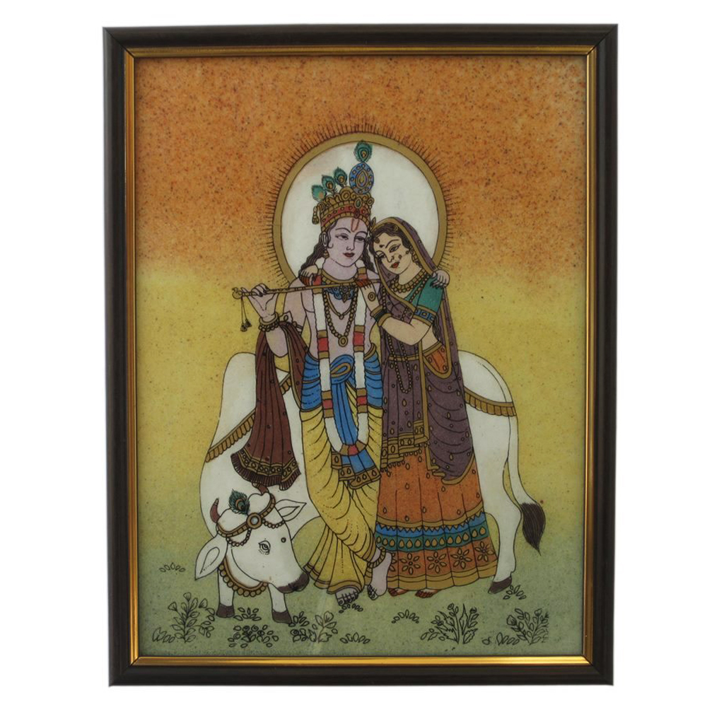 Gemstone painting of radha krishna