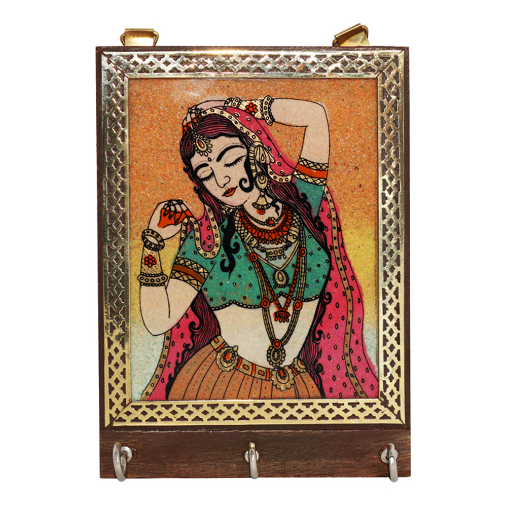 Gemstone wall key holder with bani thani design
