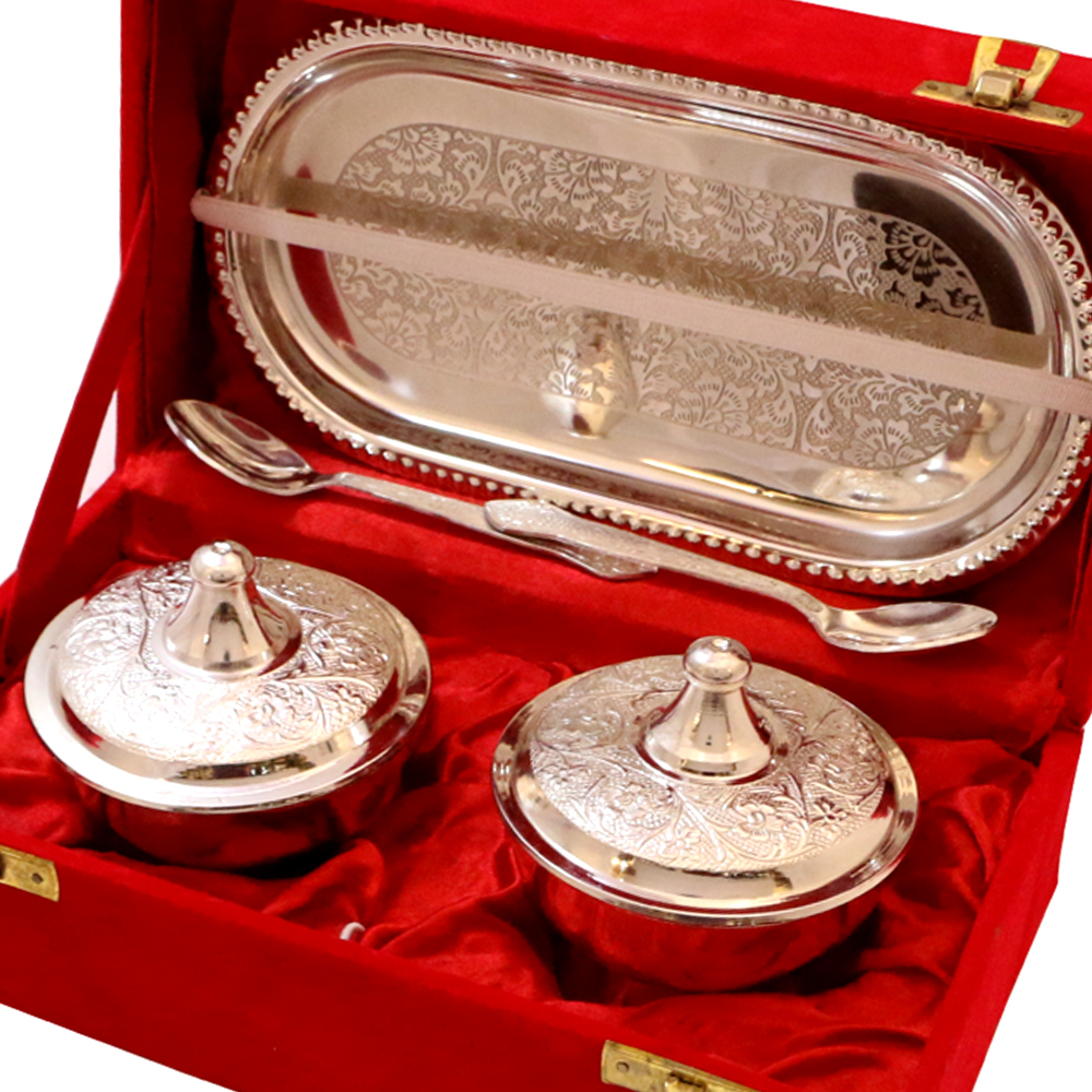 German silver twin bowl set with tray