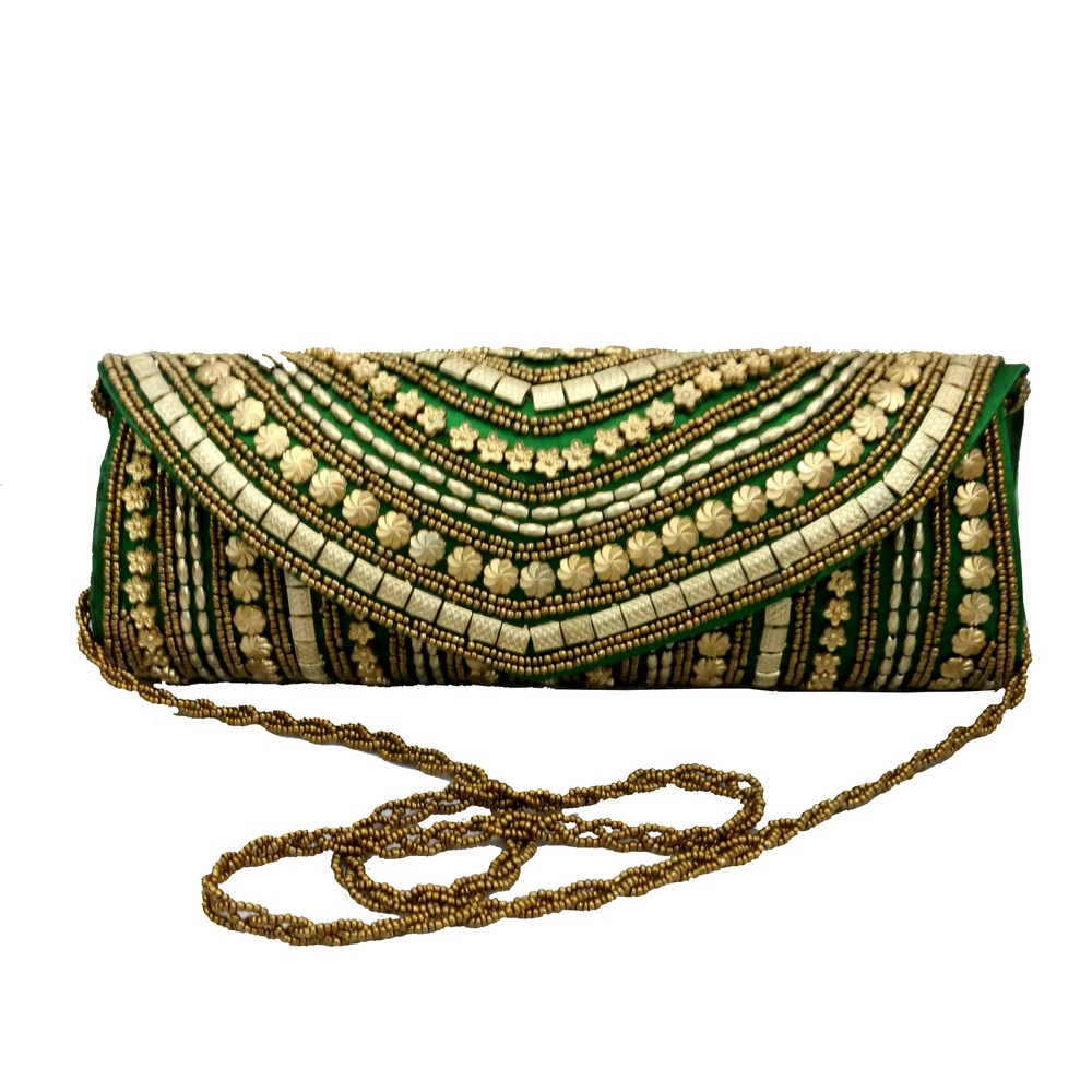 Gota Patti sequence worked green clutch bag