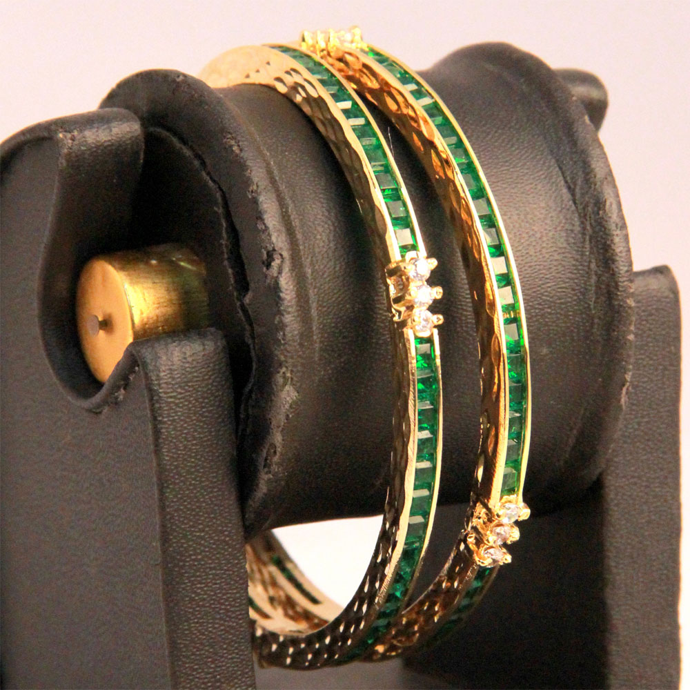 Green ad studded bangles