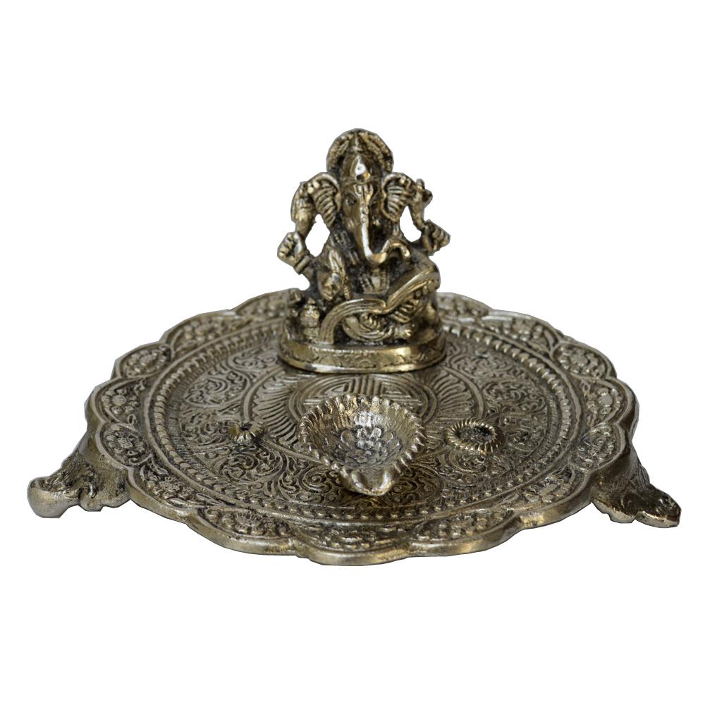 Oxidized Round Chowki with Ganesh and Diya