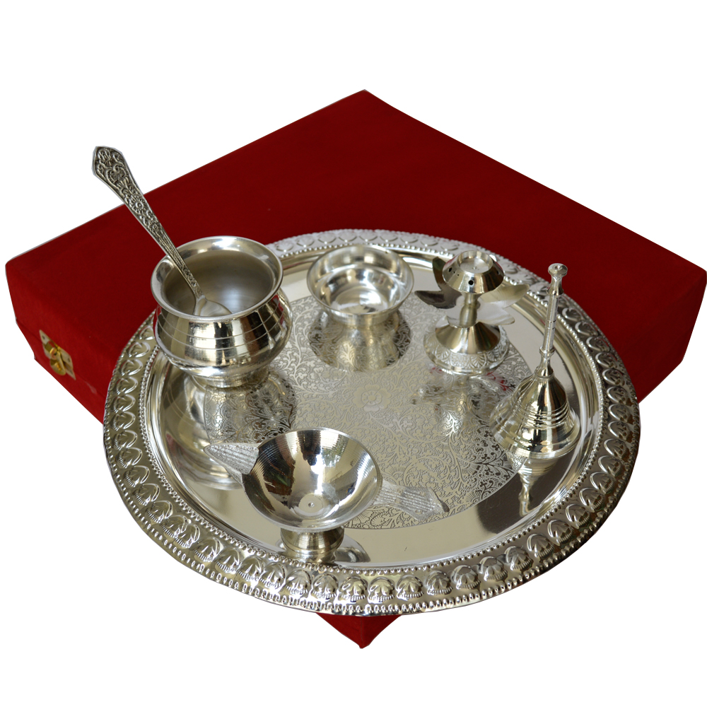 Ritualistic Pooja Thali Set in German Silver For Ladies