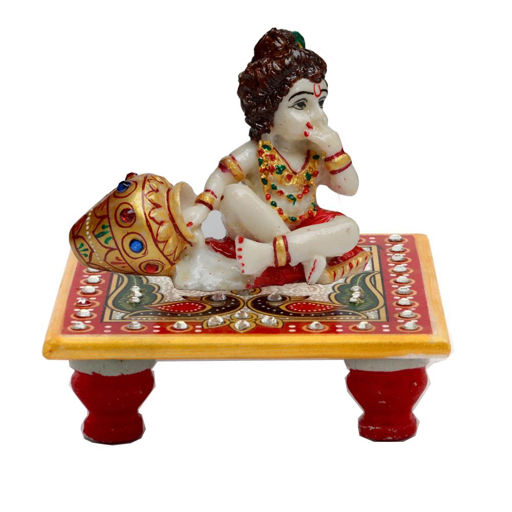 Kanha Enjoying Makhan Sitting On Marble Crafted Chowki