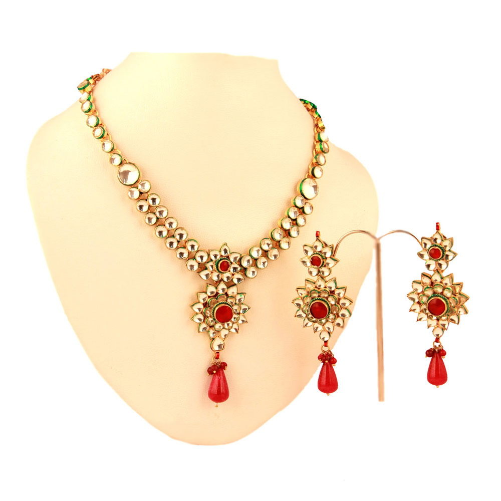 Kundan set with red meena