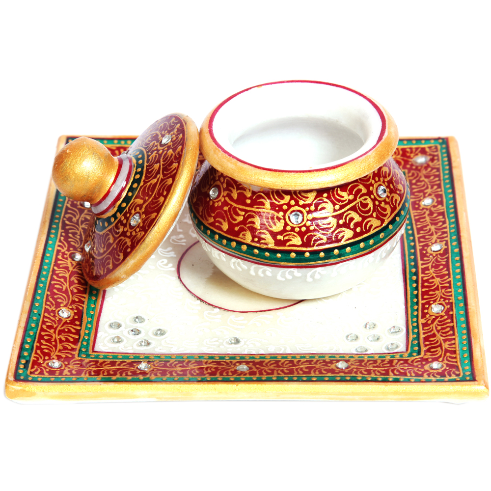 Marble Meenakari Crafted Dibbi With Lid & Plate For Ladies