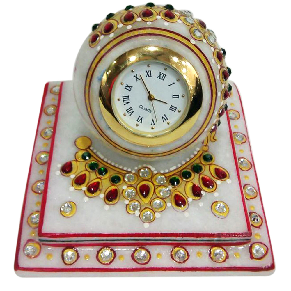 Marble Paperweight Clock With Meenakari & Stone Work