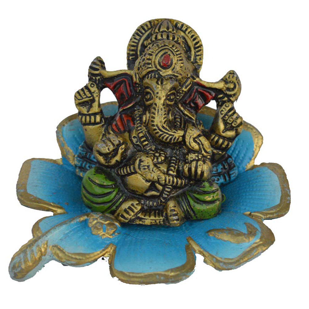 Metal Lord Ganesha Statue On Sky Blue Leaf To Adorn Your Home