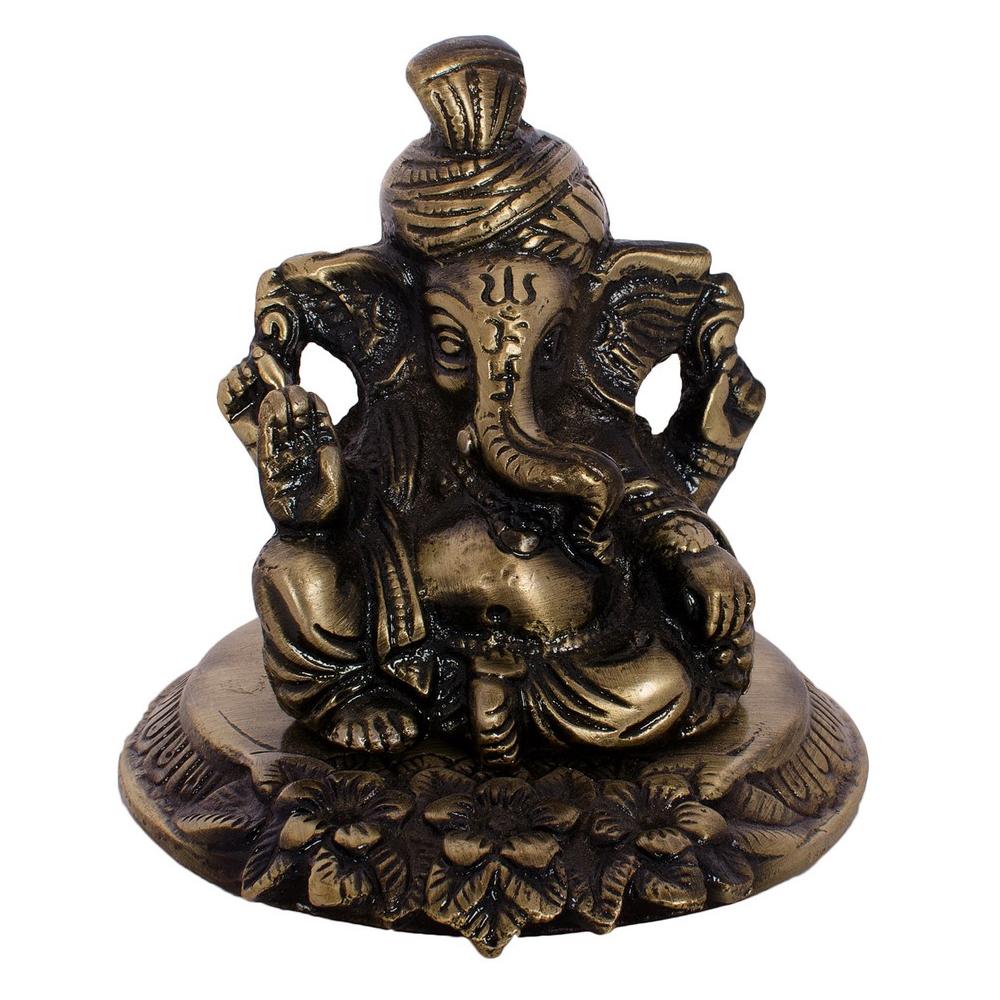 Metal Pagdi Lord Ganesha On Flower Online