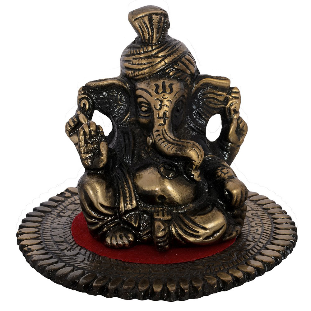 Metal Pagdi Lord Ganesha On Round Base With Aasan Online