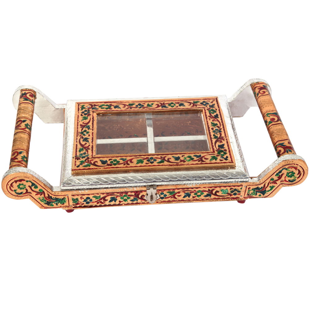 Wooden Dry Fruit Serving Tray with Meenakari Work