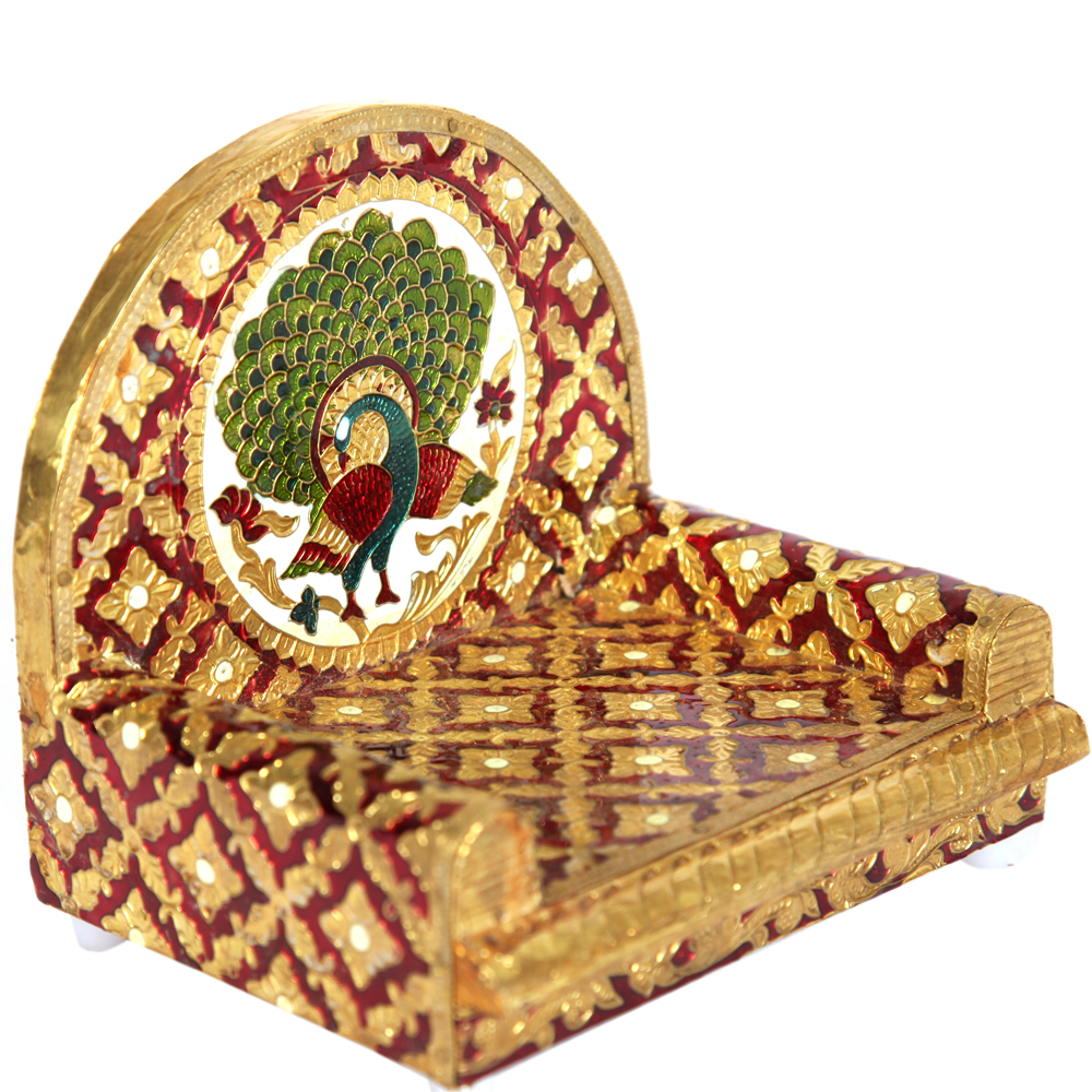 Meenakari Worked Wooden Singhasan for Your Home