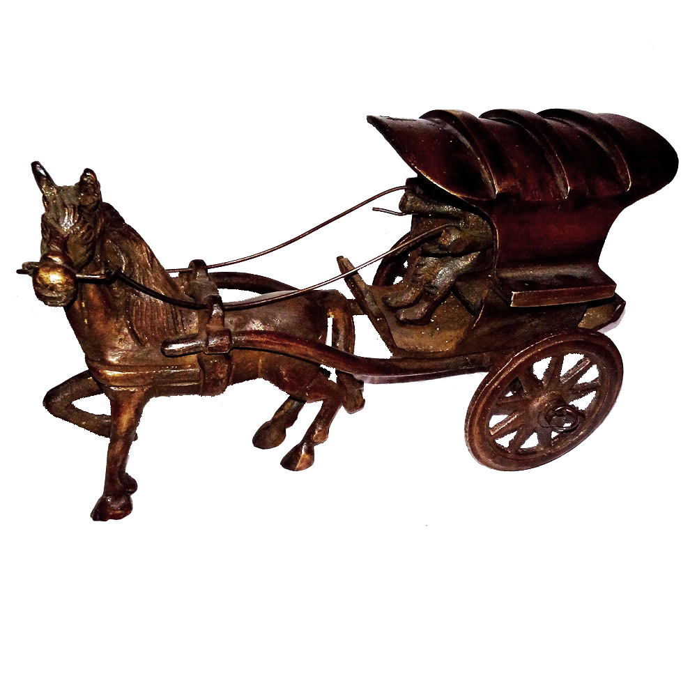 Miniature horse cart model in brass metal