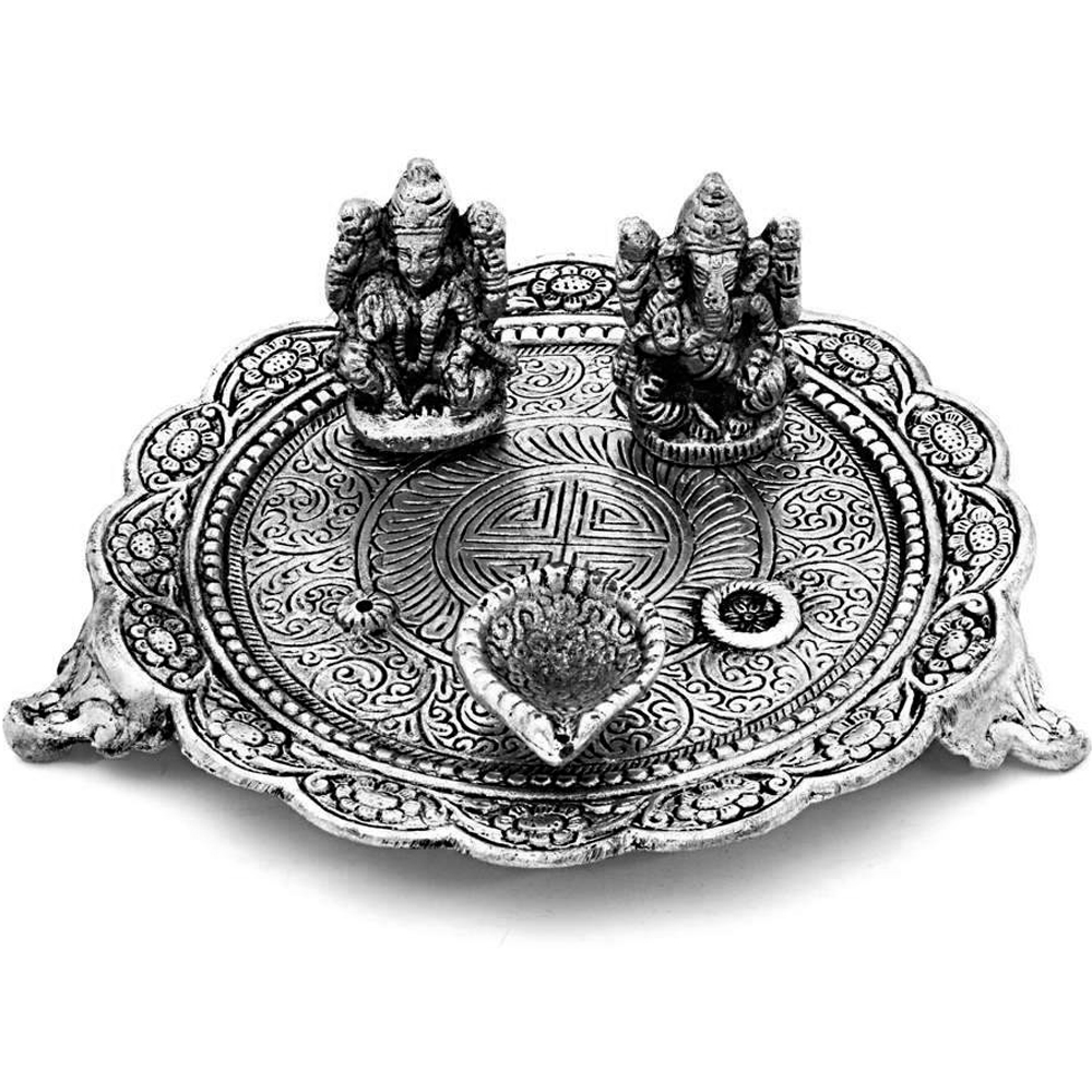 Oxidized Craft Laxmi Ganesh Puja Thali With Diyas Online