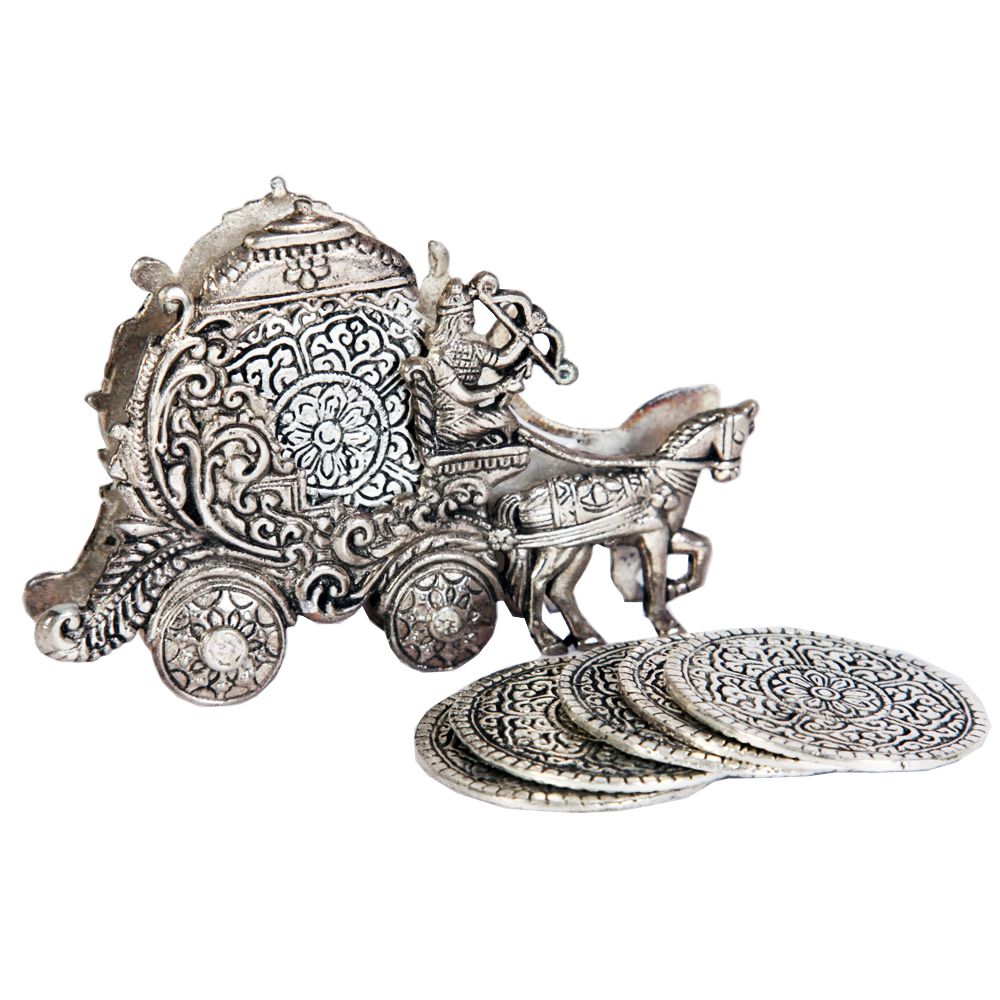 Oxidized Rath Shape Tea Coaster As Table Showpiece Online