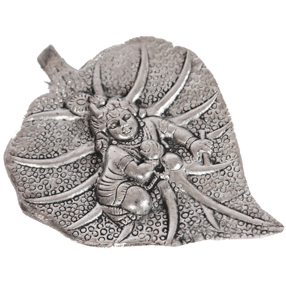 Oxidised baal krishna wall hanging arted on peepal leaf