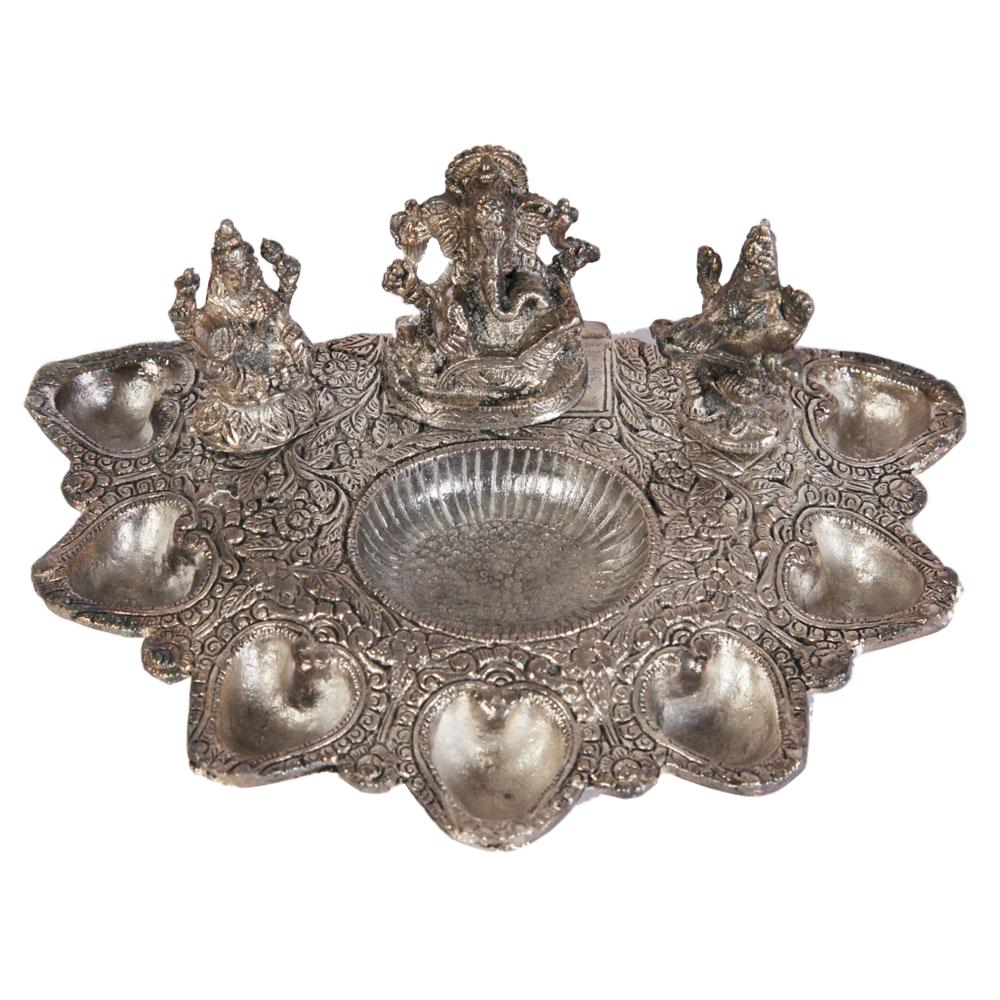 Oxidised lakshmi saraswati pooja plate with diyas