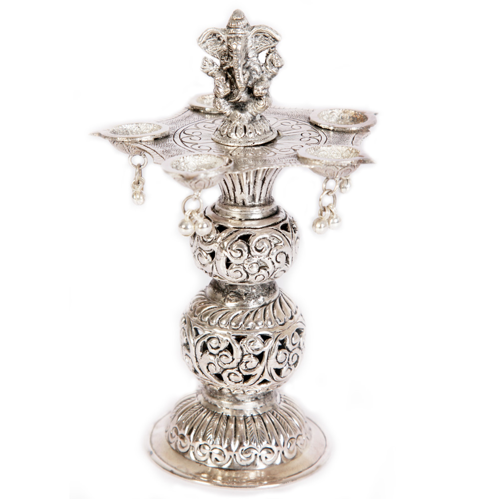 Lord Ganesha Oxidised Brass Pillared 5 Diya As Showpiece