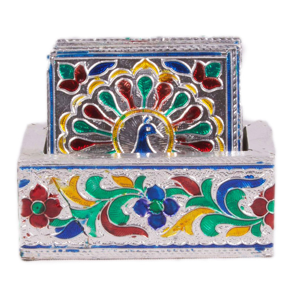 Peacock Painted Meenakari Coaster Set (Pack of 6)