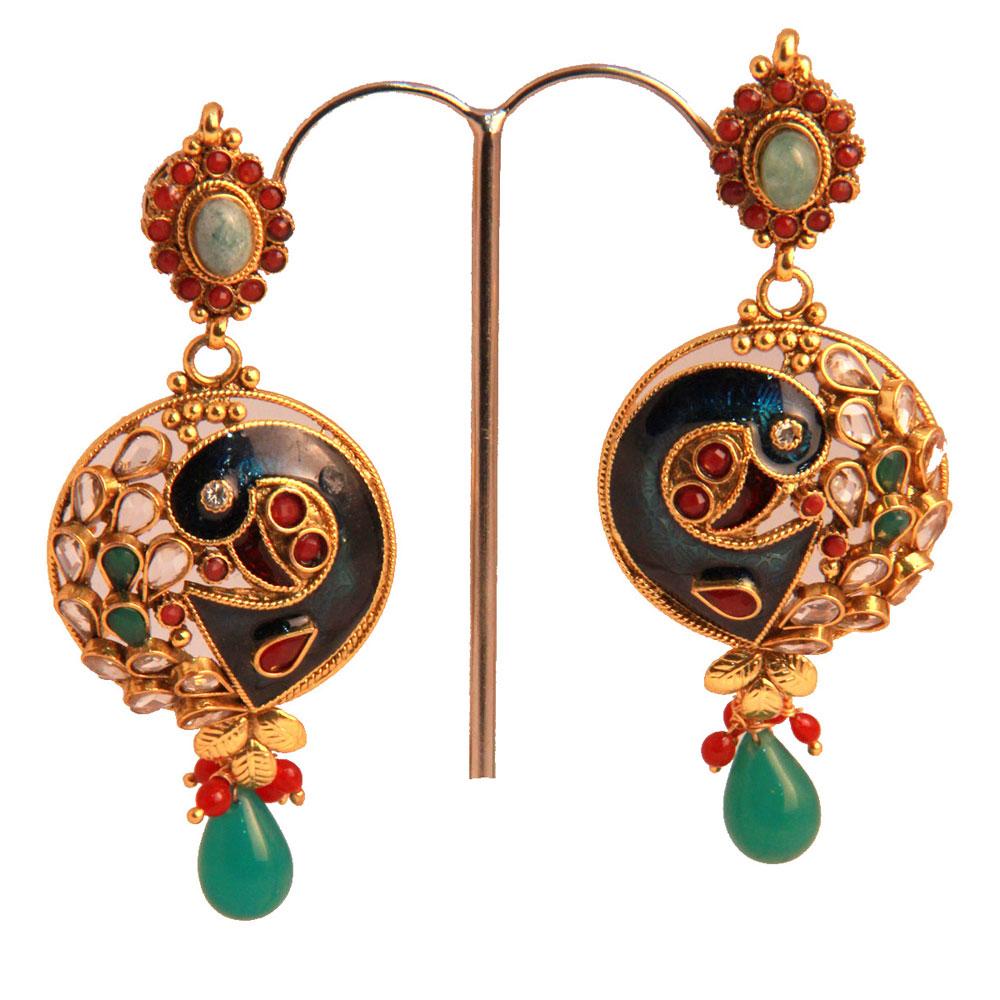 White beaded on green earrings