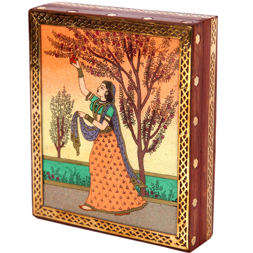 Artistic Ragini Wooden Gemstone Crafted Jewellery Box Online