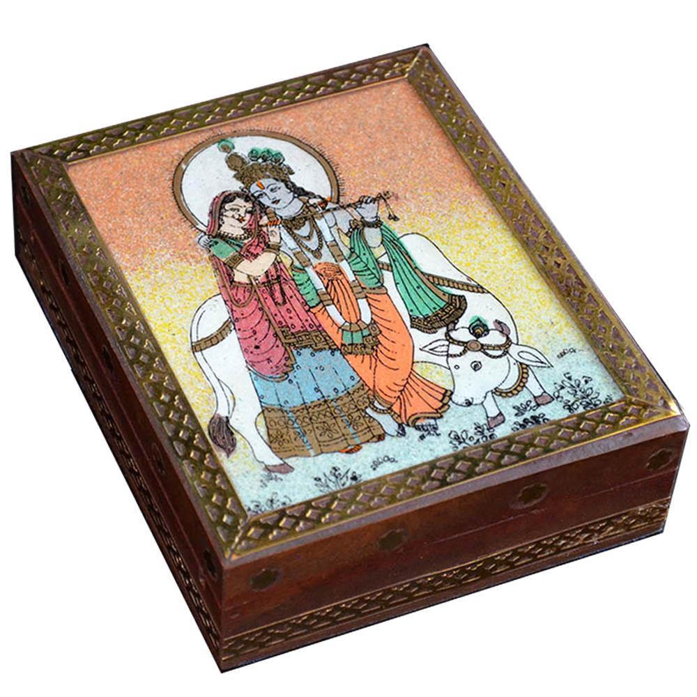 Radhe Krishna Wooden Gemstone Handicrafts Jewellery Box