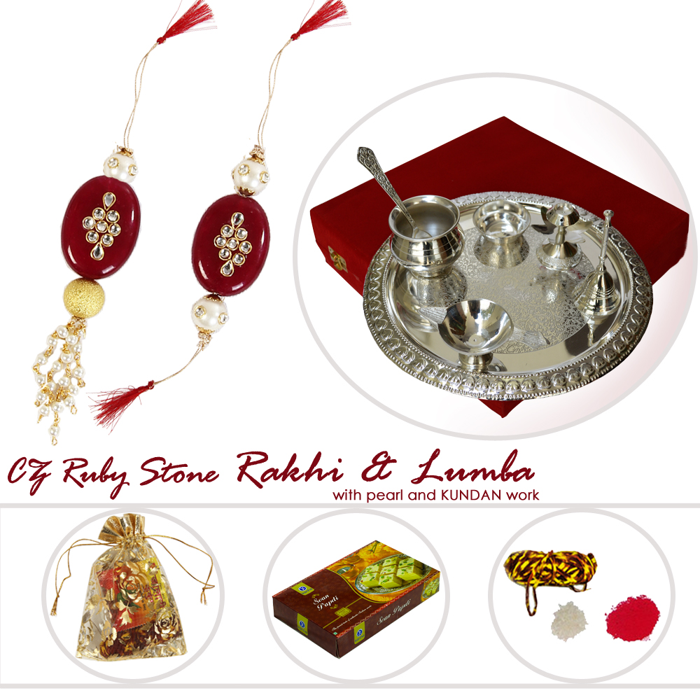 Rakhi Lumba With Silver Polish Pooja Thali & Sweets