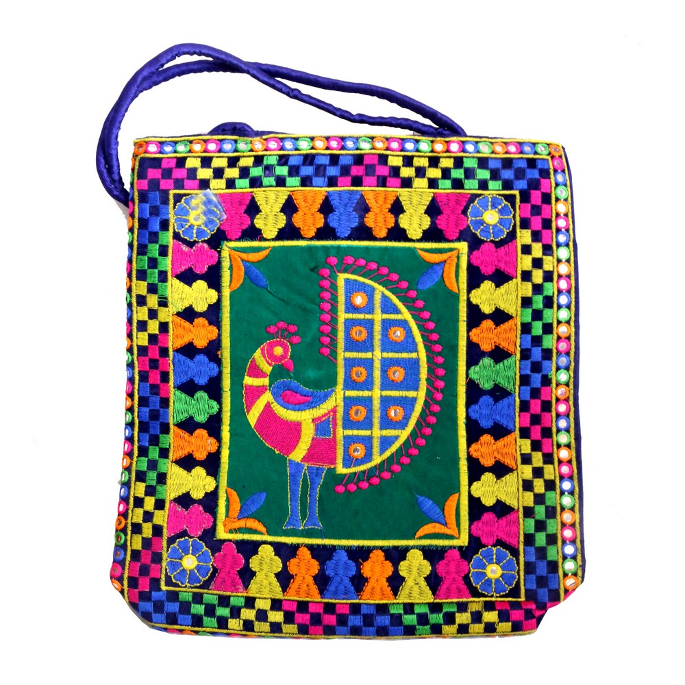 Rectangular Blue Bag With Peacock Design & Colourful Boundary For Work Purpose
