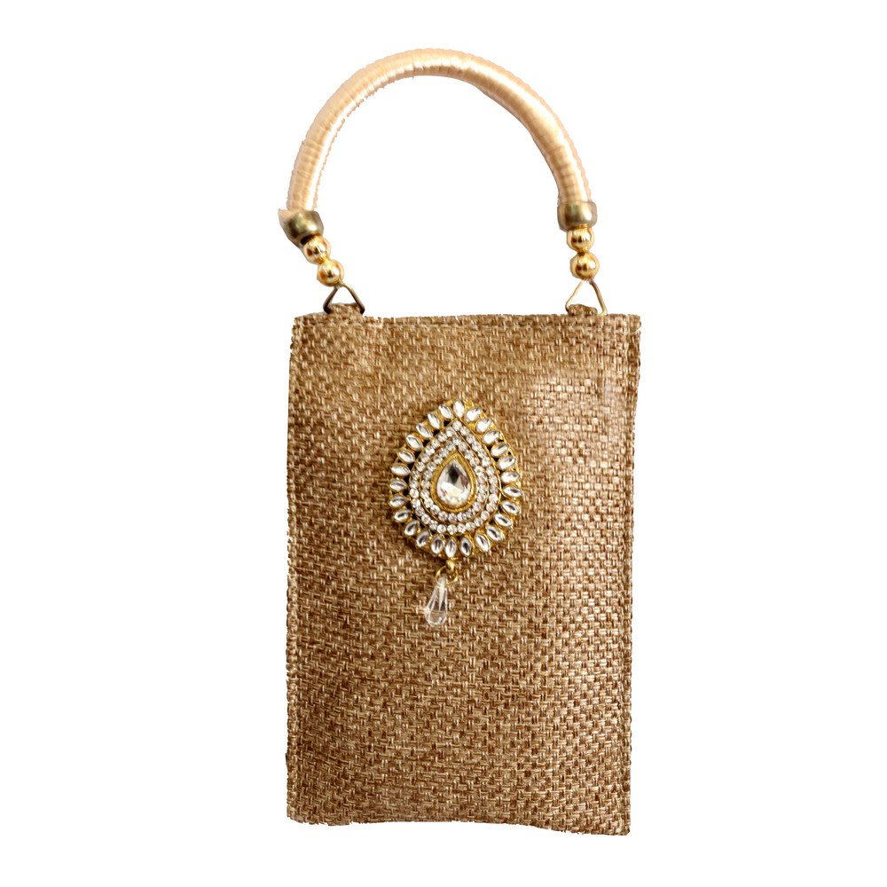 Rectangular jute clutch bag with stone work