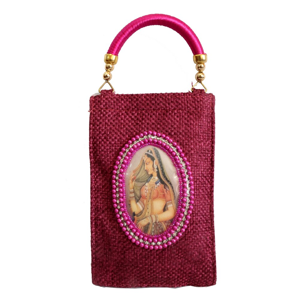 Rectangular Magenta Coloured Pouch Handle Bag With Rajasthani Lady Image